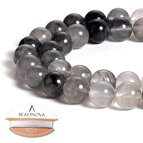 - BEADNOVA Natural Cloudy Quartz Beads Natural Crystal Beads Stone Gemstone Round Loose Energy Healing Beads with Free Crystal Stretch Cord for Jewelry Making (10mm, 38-40pcs)