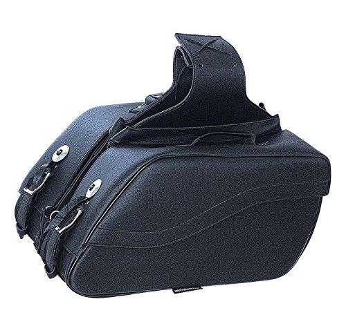Motorcycle Large 2 Pc cruiser style slant Waterproof saddlebag with conchos Blk