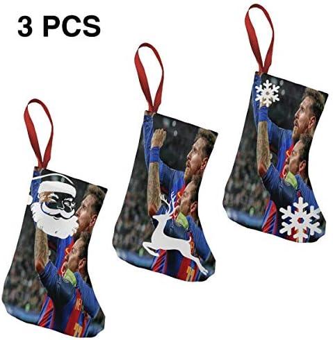 クリスマスの日の靴下 (ソックス3個)クリスマスデコレーションソックス Messi Neymar メッシ、ニーマルJR クリスマス、ハロウィン 家庭用、ショッピングモール用、お祝いの雰囲気を加える 人気を高める、販売、プロモーション、年次式