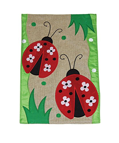 Toland Home Garden Daisy Ladies 12 x 18 Inch Decorative Cute Ladybug Flower Burlap Flag