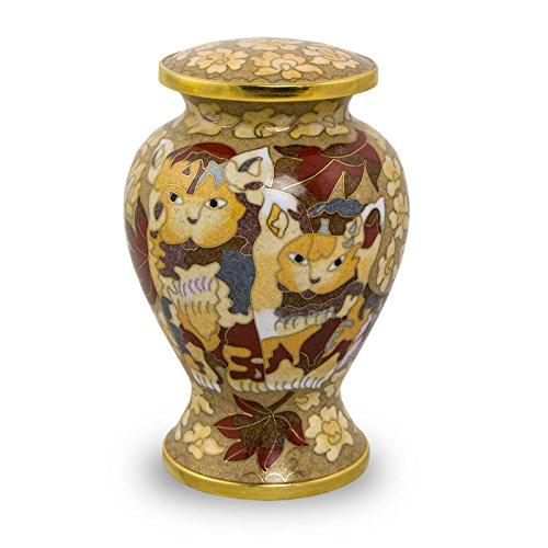 Cloisonne Bronze Pet Urn - Small - Holds Up To 25 Cubic Inches of Ashes - Cloisonne Brown Pet Memorial Urns - Engraving Sold Separately - Kitty Cloisonne