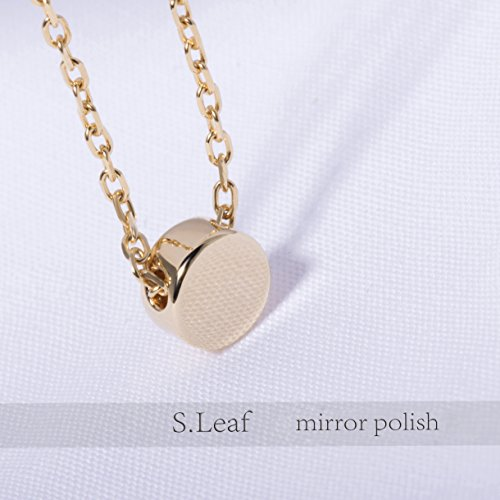 S.Leaf Gold Tiny Dot Necklace Sterling Silver Ball Pendant Circle Necklace (gold) by S.Leaf (Image #3)