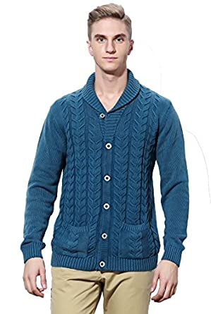 JOLLYCHIC Men's Long Sleeve Button Front Cardigan Sweater With ...