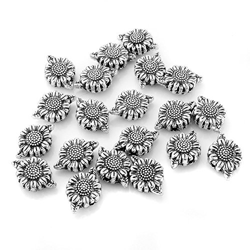 BEADNOVA 50pcs Tibetan Silver Cute Sunflower Flower Charm Bead Spacers for Jewelry Making Findings - Cute Bead