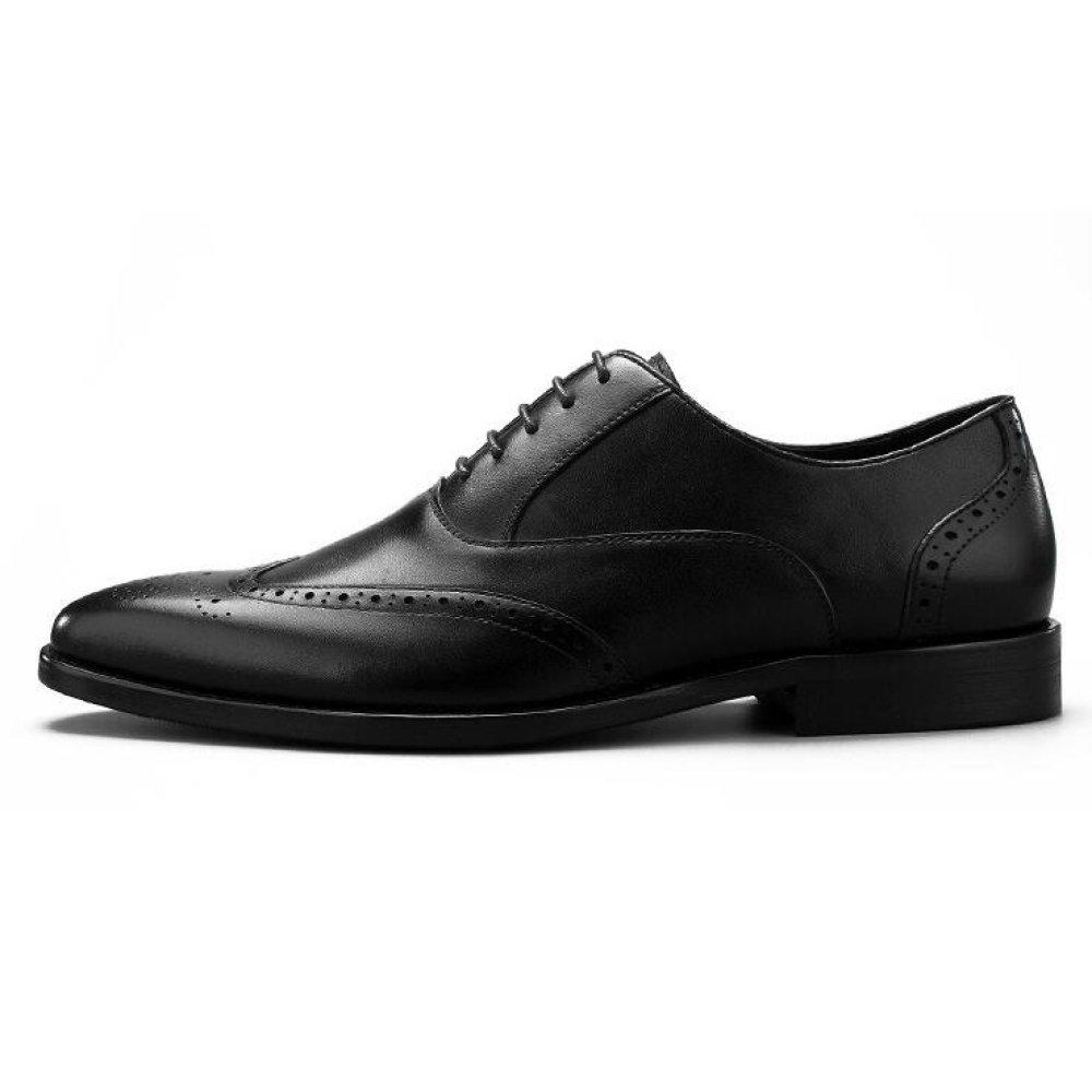 XIAOLONGY Zapatos De Verano De Inglaterra Hombres Brock Zapatos De Vestir De Vestir De Encaje De Cuero Tallado De Los Hombres,Black-43 43|black