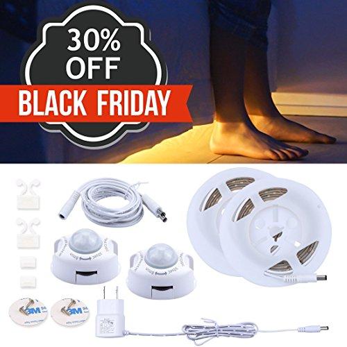 Motion Activated Under Bed Light (2 Pack),Warm White 3000K,LED Motion Sensor Bedside Light Strip 1.2M,Waterproof LED Bed Light For Under Cabinet, Under Bed, Hallway, Dark Corner Accent Lighting