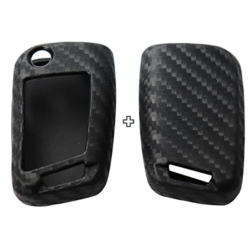 Key Style 2Pack Silicone carbon fiber pattern car key case cover keychain for smart Volkswagen Golf 7 mk7 Skoda citigo fabia papid octavia karoq kodiaq superb A7 accessories fob shell key bag