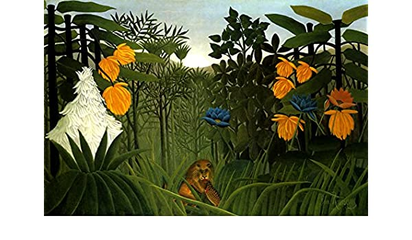 Repast of the Lion  by Henri Rousseau  Giclee Canvas Print Repro