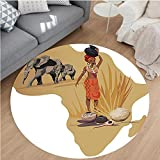 Nalahome Modern Flannel Microfiber Non-Slip Machine Washable Round Area Rug-n with Africa Map and Traditional Local Lady Savannah Ceremony Features Tribe Print Multi area rugs Home Decor-Round 71''