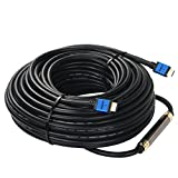 HDMI Cable 75 Feet with Signal Booster,SHD 75' HDMI Cord 2.0V Support 4K 3D 1080P for in-Wall Installation CL3 Rated Black Cable and Blue Metal Shell
