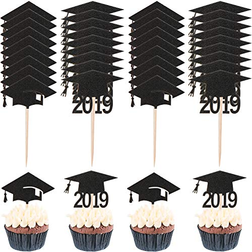 60 Pieces Graduation Cupcake Toppers Class of 2019 Cupcake Topper Picks with Graduation Cap Design for Graduation Party Decoration Supplies (Style Set 1) -