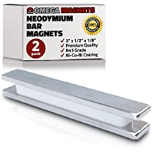 "Strong Neodymium Bar Magnets (2 Pack) - Powerful, Rectangular Rare Earth Magnets - N45 Industrial Strength NdFeB Block Magnet Set for Misti, DIY, Crafts - 3"" x 1/2 x 1/8"