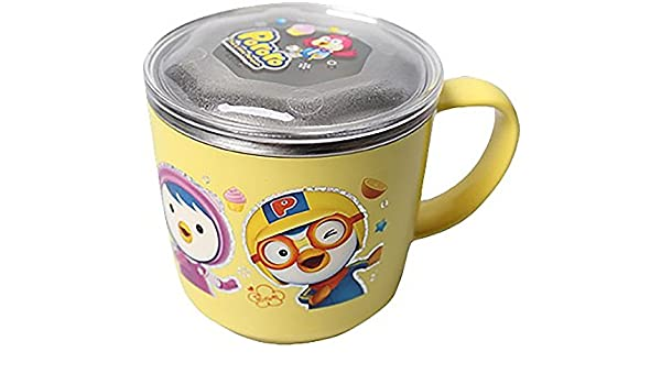 Non Slip Pororo Feeding Cup With Lid Stainless Steel Korea Children Kid Baby