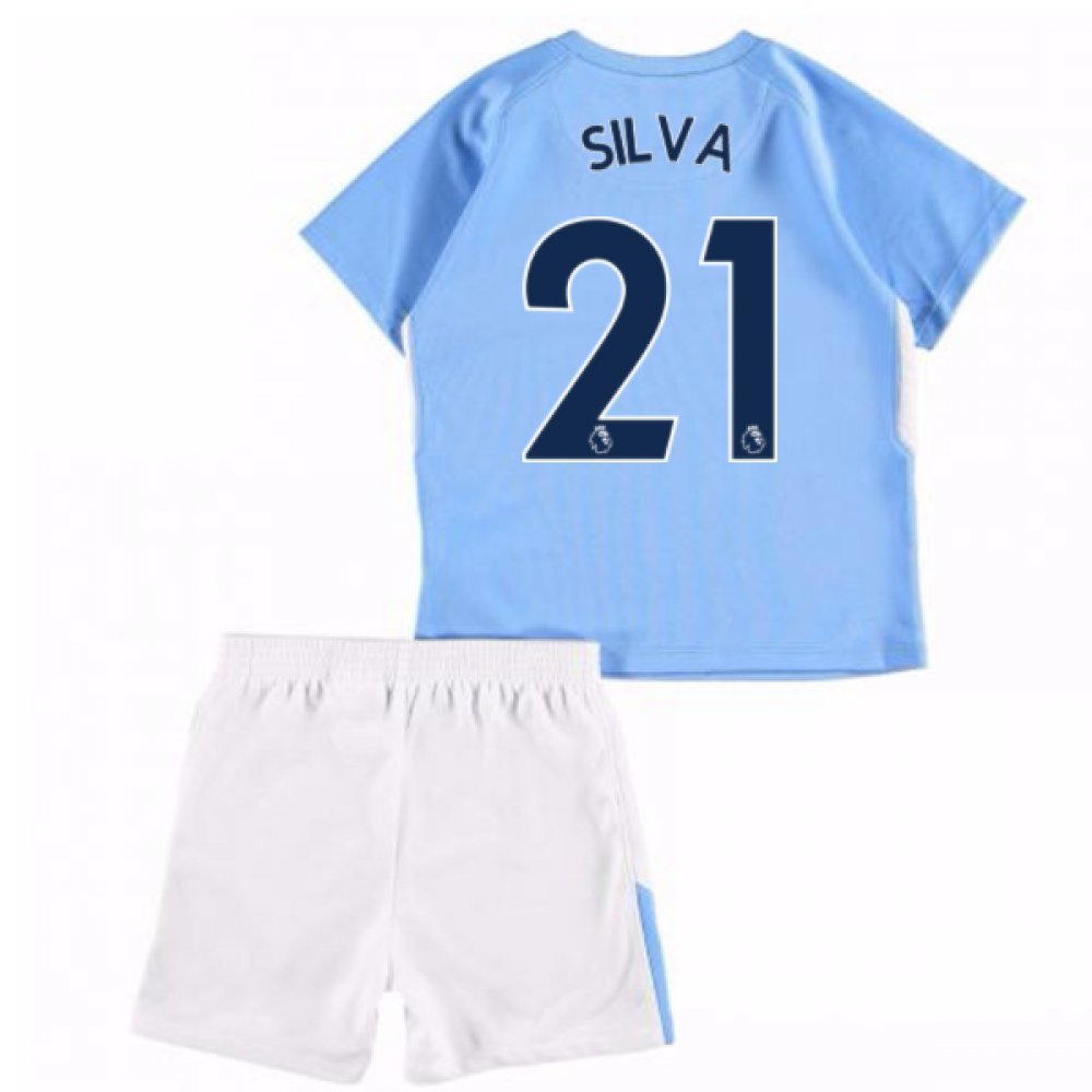 UKSoccershop 2017-18 Man City Home Baby Kit (David Silva 21)