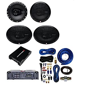 Cerwin-Vega XED7600.4 Amplifier With Rockford Fosgate 6 x 9 Inch 3-Way Full-Range Coaxial Speaker(Pair)+6.5-Inch Full-Range 3-Way Coaxial Speaker (Pair)+ 4 Gauge AMP Kit Cache Bundle
