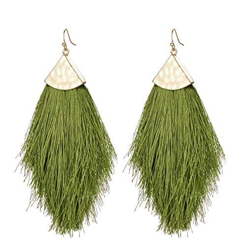 Tassel Statement Drop Earrings-Bohemian Strand Fringe Lightweight Long Feather Dangles Earrings For Women