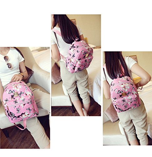 DHOUTDOORS Pink Leather Women Schoolbag Backpack Floral PU Handbag Butterfly Bag Black vqwxrv47R