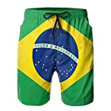 Men's Brazil Flag Lightweight Swim Trunk Quick Dry Beach Shorts Boardshorts