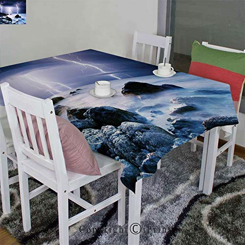 - AngelSept 3D Printed Tablecloth Velour Hemp by Summer Storm Flashes Over The Rocks in Ocean Nightmare Theme Weather Nature Image(60