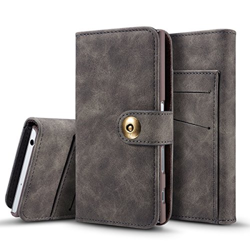 (TOTOOSE Sony Xperia XZ Case, Wallet Case, Surface Premium PU Leather Flip Case Cover with Card Slots & Kickstand for Sony Xperia XZ - Dark Grey)