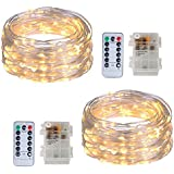 2 Pack Twinkle Fairy String Lights 100 LED 32.8FT Waterproof Firefly Starry Lights for Wedding Party Garden Bedroom Christmas Decor, Warm White