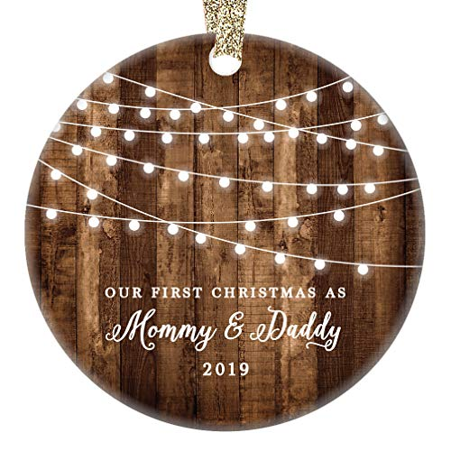 1st Christmas as Mommy & Daddy 2019 New Parents Ornament Country Rustic Porcelain 3