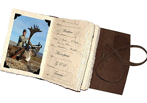Leather Hunting Journal With/photo Pages, Rustic Handmade, Dark Brown