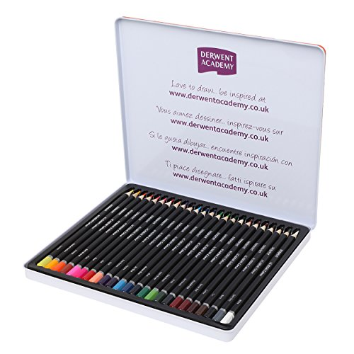 - Derwent Academy Colored Pencils, 3.3mm Core, Metal Tin, 24 Count (2301938)
