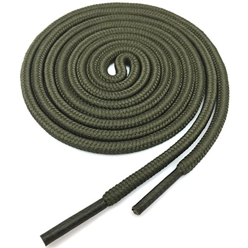 (YJRVFINE Round Shoelaces Boots Shoe Laces String Rope Army Green 2 Pair- Length:82.68