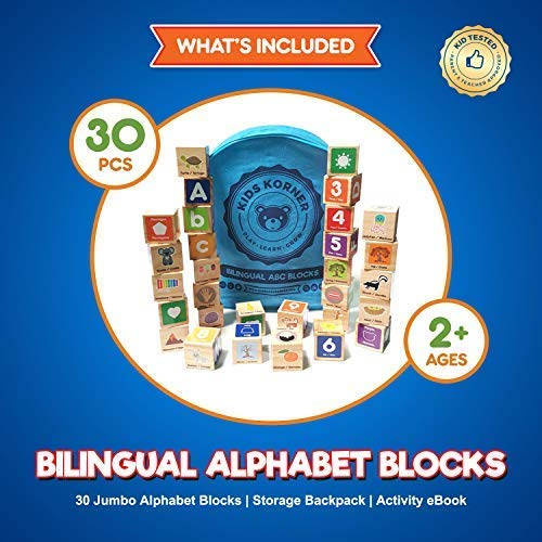 Alphabet Blocks Toys For Toddlers - Jumbo Bilingual Educational ABC Stacking Kids Toys For 1 Year Old 2 3 4 5 Girls and Boys With 30 Wooden Manipulatives, Learning Activities eBook and Travel Backpack