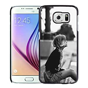 NEW Unique Custom Designed Samsung Galaxy S6 Phone Case With Lonely Blonde Girl Waiting Sidewalk_Black Phone Case