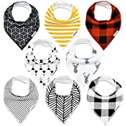 TheAZBaby Baby Bandana Drool Bibs, for Boys and Girls Organic Cotton Unisex Baby Shower Set for Teething and Drooling, Soft Absorbent and Hypoallergenic, Plaid Pattern.