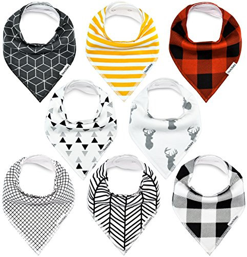 Baby Bandana Drool Bibs, for Drooling and Teething Unisex 8 Pack Set for Boys and Girls, Organic Cotton, Soft and Absorbent, Hypoallergenic by TheAZBaby.