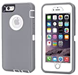 iPhone 6 Plus Case, iPhone 6S Plus Case [HEAVY DUTY] Built-in Screen Protector Tough 3 in 1 Rugged Shorkproof Waterproof Cover for Apple iPhone 6/6S Plus (Grey/White(Without Kickstand))