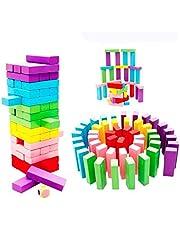 Wooden Rainbow Jenga 54 Pcs Blocks Colored Domino Educational Toy For Children