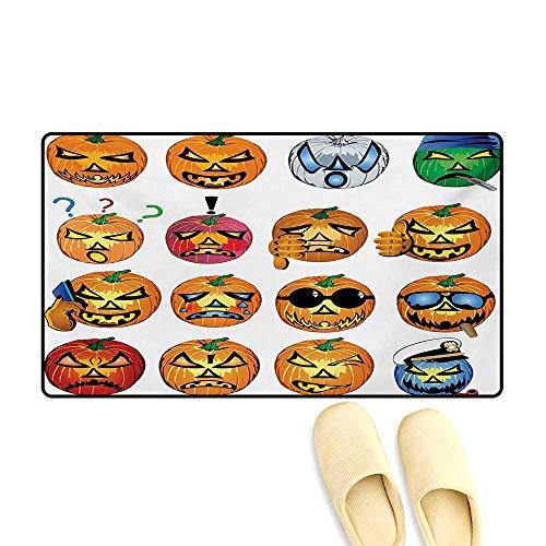 Doormat,Carved Pumpkin with Emoji Faces Halloween Inspired Humor Hipster Monsters Artwork,Floor Mat Bath Mat for Tub,Orange,32