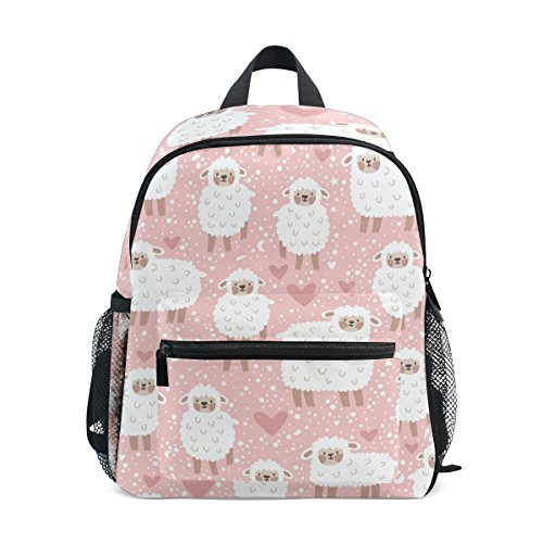 U LIFE Cute Pink Lambs Animals Sheep Kids Backpack Bookbag Shoulder Schoolbag for Girls Boys