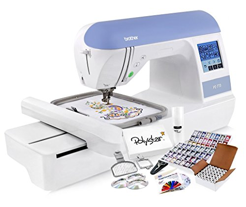 Brother PE770 Embroidery Machine + Grand Slam Package Includes 64 Embroidery Threads + Prewound Bobbins + Cap Hoop + Sock Hoop + Stabilizer + 15,000 Embroidery Designs + Scissors (1,170 Value) (Designs Machine Embroidery Package)