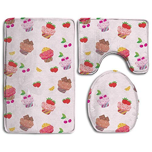 Sweet Cakes Flannel - CoolToiletLidCoverCC Bathroom Non-Skid Carpet Bath Rugs 3 Pieces Set Water-Absorbing Sweet Cake Flannel Toilet Floor Bath Mats Contour Rug Lid Cover