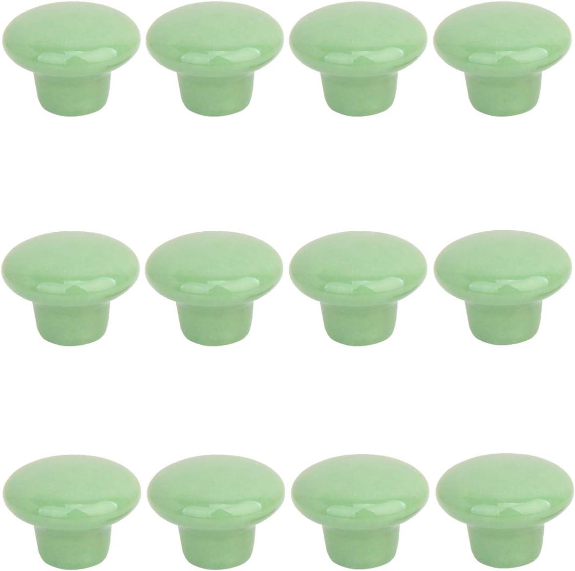 Creatwls- 12pcs Redondo Cerámica Color Sólido Tire De Asas Para Muebles De Cocina Cajones Pomos Para Puerta (Verde)