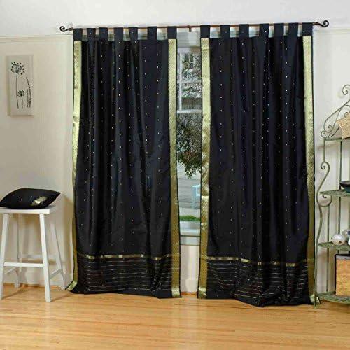 Indian Selections Lined-Black Tab Top Sheer Sari Curtain/Drape/Panel