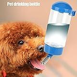 ERTIANANG 400Ml Pet Drinking Bottle Leak Resistant Automatic Animal Water Bottle Ball Nozzle Rabbit Dog Cat Drinking Kettle(Blue)
