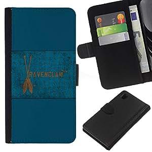 NEECELL GIFT forCITY // Billetera de cuero Caso Cubierta de protección Carcasa / Leather Wallet Case for Sony Xperia Z1 L39 // Bandera de Ravenclaw