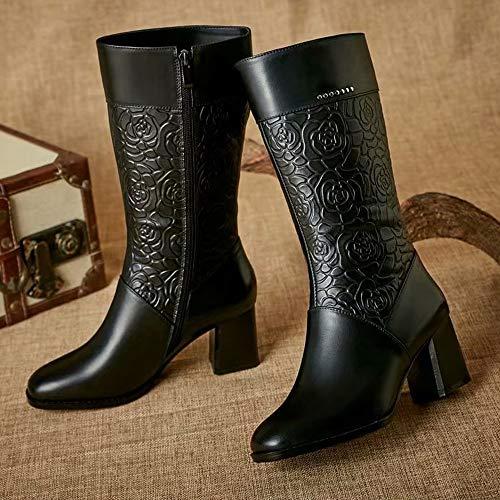 Cuadrado Las Negro Caña Mujeres Floral Botines Tacón De Vintage 6cm Retro Luckygirls Botas Zapatos Cuero Media Anvqaxt