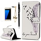 Image of S7 Edge Case,Samsung Galaxy S7 Edge Case - Badalink Wallet Folio PU Leather Magnet Card Holder Soft TPU Inner Cover with High Definition Screen Protector & Dust Plug & Stylus Pen - Birds and Feather