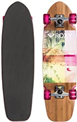 "The Tropical Secret 30"" cruiser by Roxy features a maple top, bamboo bottom, and EVA foam deck. Standard 5"" trucks, 65mm clear magenta wheels, and a kicktail complete the board."