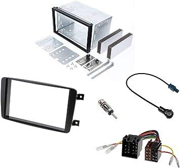 Audioproject A298 - Kit de montaje para radio de coche doble DIN para Mercedes Clase C W203 CLK W209 Viano Vito Marco de montaje de metal adaptador 2 ...