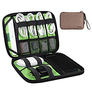 JESWO Cable Organiser Bag, Travel Electronics Accessories Bag with Double Zipper, Portable Travel Gadget Bag for Cables…