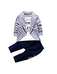 DaySeventh Boys Handsome Outfit Clothes Checked Vest Tie Shirt Long Tops Pants 1Set