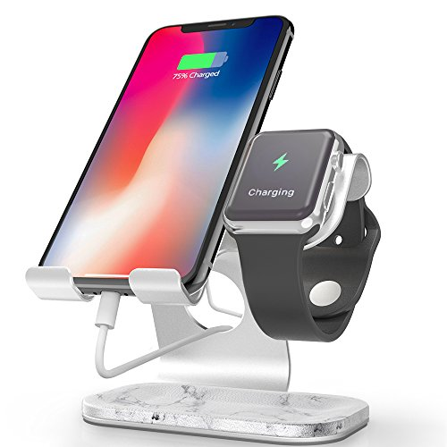 - Apple Watch Stand, ZVEdeng 2 in 1 Cell Phone and Apple Watch Stand, Apple Watch Charging Station Stand, Universal Stand Holder for Tablet, Phone and Apple iWatch Both 38mm-42mm (White Marble-Leather)